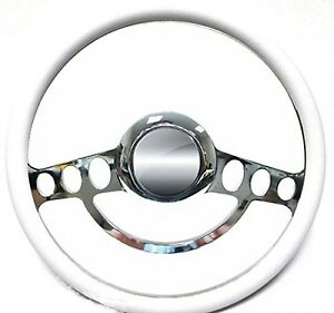 Hot Rod Street Rod Rat Rod Chrome White Steering Wheel 4 Flaming River Column