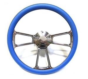 1961 1966 Dodge Dart Chrome And Blue Steering Wheel Full Install Kit Horn