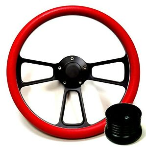 Hot Rod Street Rod Rat Rod Truck Red Black Steering Wheel Horn Adapter