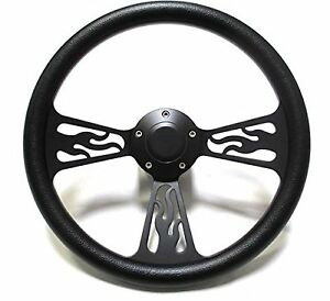 1969 1994 Chevelle Steering Wheel Black Billet Flamed Design With Adapter Horn