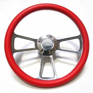 Red Steering Wheel 14 Billet Muscle Style Wheel With Chevy Bowtie