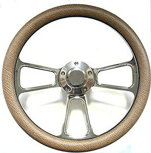 Hot Rod Street Rod Rat Rod Truck Tan Alligator Chrome Steering Wheel Horn