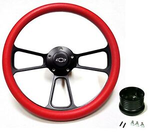 1967 Camaro 14 Billet Red Black Steering Wheel Chevy Bowtie Horn Adapter