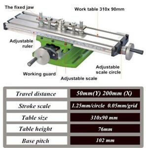 310 90mm Diy Multi function Milling Machine Mini Lathe W Cross Sliding Table