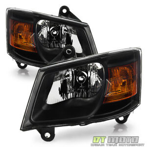 Blk 2008 2009 2010 Dodge Grand Caravan Headlights Headlamps Left right 08 09 10