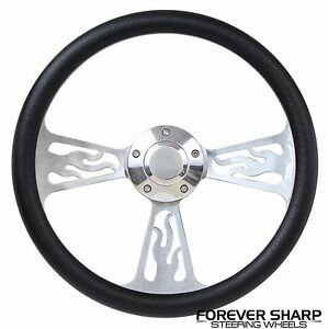 1970 87 Dodge Plymouth Chrysler 14 Flame Aluminum Steering Wheel W Adapter Kit