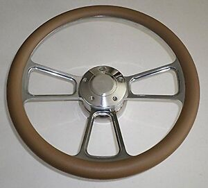 Beige Tan Half Wrap 14 Billet Steering Wheel Kit With Hub Adaptor
