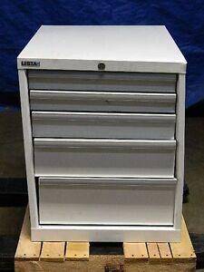 Lista Modular Storage Cabinet 5 drawer 22 X 28 X 27 Steel White