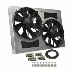Derale 16842 High Output Dual 12 Electric Rad Fan aluminum Shroud 26 Width