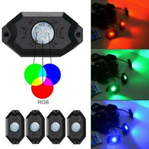 4x Rgb Led Rock Lights Wireless Bluetooth Music Flashing Multi Color Offroad Us