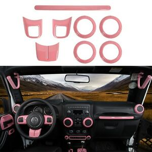 8pcs Pink Abs Auto Decoration Accessories Cover Trim Kit For Jeep Wrangler 11 17