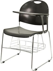 Black Plastic School Chair With Left Handed Flip up Table Arm And Chrome Frame