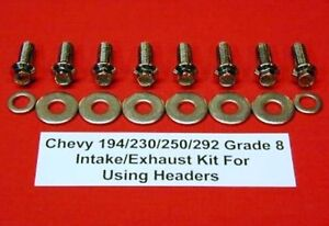 Chevy 194 230 250 292 Arp Grade 8 Polished Stainless Steel Header Bolts Kit Set