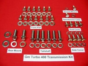 Gm Big Small Block Chevy Turbo 400 Polished Stainless Transmission Bolt Kit
