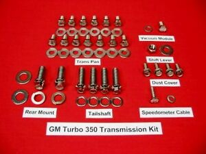 Gm Big Small Block Chevy Turbo 350 Polished Stainless Transmission Bolt Kit