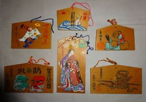 Japan Vintage Shrine Temple Wood Prayer Board Ema 6 Set Tengu Vaisravana Hotei