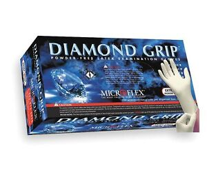 Microflex Diamond Grip Powder free Latex Gloves 1000 case Choose Size S M L Xl