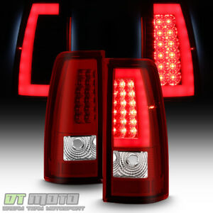 1999 2002 Chevy Silverado 1500 99 06 Gmc Sierra Red Led Tube Tail Lights Lamps