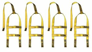 Four 4x Yellow Demco Kar Kaddy Mini Tow Dolly Straps Rugged Weave Axle W Loops