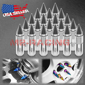 Silver 20 Pcs M12x1 25 Lug Nuts Spiked Extended Tuner Aluminum Wheels Rims Cap