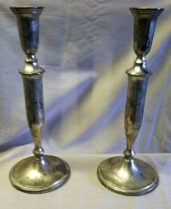 Vtg Godinger Silver Plated Colonial Style Silver Candlesticks Pair 11 5 Tall