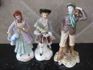 Lot Of 3beautiful Antique Porcelain Figurines Yamaha Japan And Capodimonte Italy