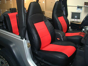 Jeep Wrangler Tj Sahara 1997 2002 Black red Iggee S leather Seat Cover
