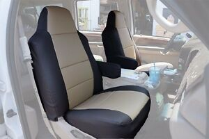 Ford Excursion 2000 2005 Black Beige S Leather Custom Made Fit Front Seat Cover