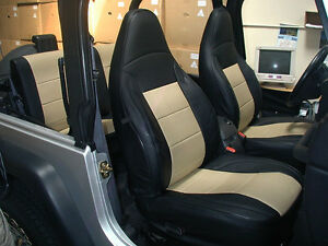 Jeep Wrangler Tj Sahara 1997 2002 Black Beige Iggee S Leather Seat Cover
