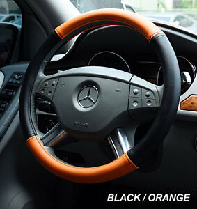 Iggee Black Orange S Leather Premium High Quality Steering Wheel Cover 15