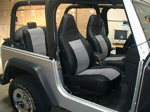 Jeep Wrangler Tj Sahara 1997 2002 Black Grey Iggee S Leather Seat Cover