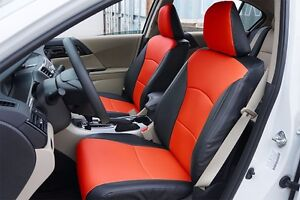 Honda Accord 2013 2017 Black red S leather Custom Made Fit Front Seat Cover