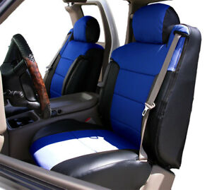 Chevy Silverado 2000 2002 Black blue S leather Custom Front Seat 2arm Cover