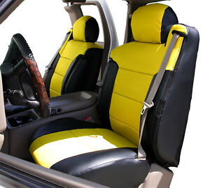 Chevy Silverado 2000 2002 Black yellow S leather Custom Front Seat 2arm Cover
