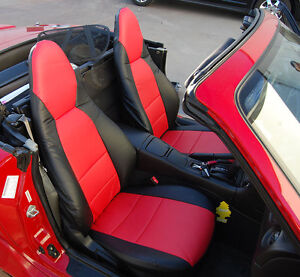 Mazda Miata 2001 2005 Black Red S Leather Custom Made Fit Front Seat Cover