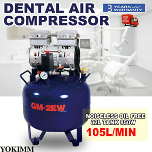 Portable Dental 32l Air Compressor Silent Quiet Noiseless Oil Free Oilless 850w