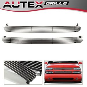 Fit 99 02 Silverado 1500 00 06 Suburban tahoe Billet Grille Chrome Upper Grill
