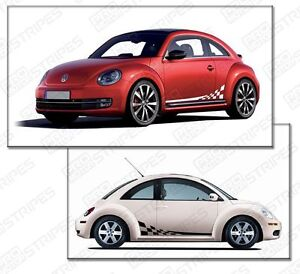 Vw Volkswagen Beetle Rally Checkered Side Sport Stripes Choose Color
