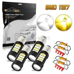 4pc 1157 Dual Color Switchback Amber White Led Front Turn Signal Light resistors