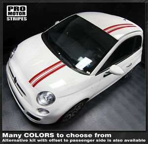 Fiat 500 2007 2015 Pre Cut Over The Top Offset Stripes Decals Choose Color