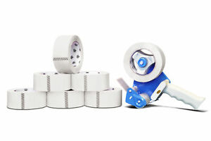 White Colored Packing Tape 2 X 55 Yards 165 2 Mil 12 Rolls 2 Dispenser