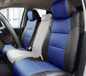 Toyota Tundra 2014 2020 Black Blue S Leather Custom Made Fit Front Seat Cover