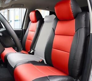 Toyota Tundra 2014 2020 Black Red S Leather Custom Made Fit Front Seat Cover