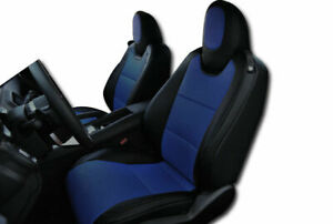Chevy Camaro 2010 2014 Black Blue Iggee S Leather Custom Fit Front Seat Cover
