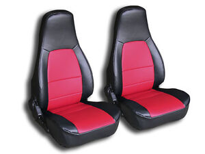 Mazda Miata 1990 2000 Black Red Iggee S Leather Custom Fit Front Seat Cover