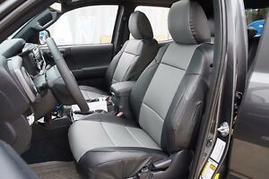 Toyota Tacoma 2016 2020 Black grey S leather Custom Made Fit Front Seat Covers
