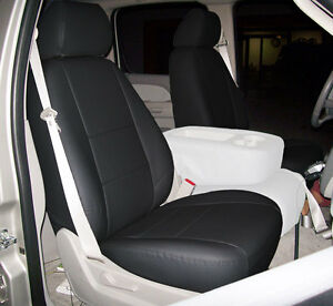 Chevy Silverado 2007 2013 Black Iggee S Leather Custom Front Seat Cover