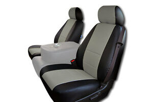Chevy Silverado 2007 2013 Black Grey Iggee S Leather Custom Front Seat Cover