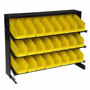 Steel Core Table Top Parts Rack With 24 Removable Bins Storage Container Trays