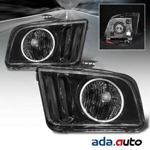 2005 2009 Ford Mustang ccfl Halo Black Smoke Headlights Headlamps Pair
